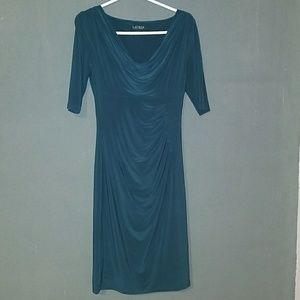Ralph Lauren Dark Green Cowl Neck Dress
